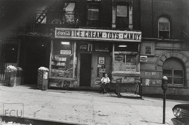 Black and white photo of a classic and lost new york candy store on east 96th