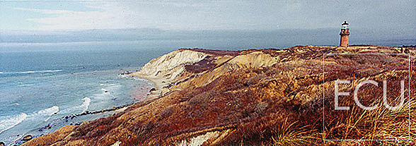 Color photo of Martha's Vineyard in Massachusetts showing the Gay Head section with lighthouse and Atlantic Ocean