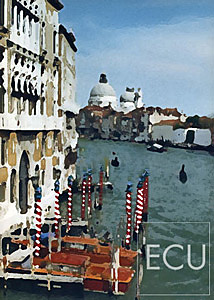 Color photo and impressionistic view of the Grand Canal taken from the Ponte Accademia in Venice, Italy