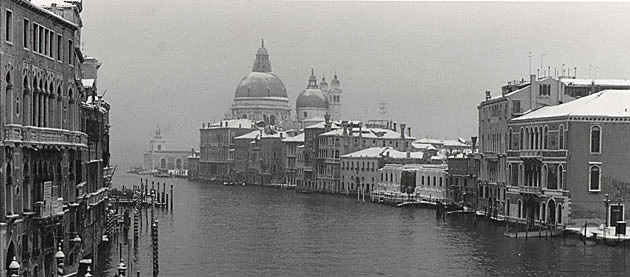 Rare black and white photo of the Grand Canal in winter in snow looking at the Guggenheim and Salute, Venice, Italy