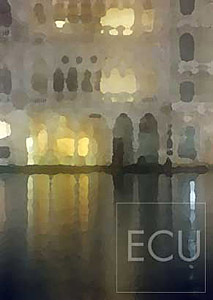 Color photo and impressionist view taken at night of the landmark palazzo Ca' d'Oro on the Grand Canal in Venice, Italy