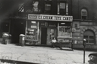 Black and white photo of a classic and lost New York candy store on East 96th Street in Manhattan and which has been destroyed