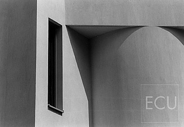 Black and white photograph of abstract modern architecture on the left bank in Paris, France