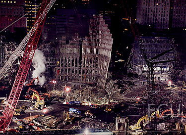 Color photo of the ruins of the original World Trade Center taken three months after 9/11 from Battery Park City
