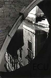 Black and white photo of the Ponte Widmann capturing reflection of an adjacent palazzo in Venice, Italy