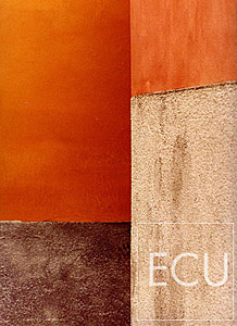 Color abstract photo of two walls that appear to be intersecting in the Castello sestiere of Venice, Italy