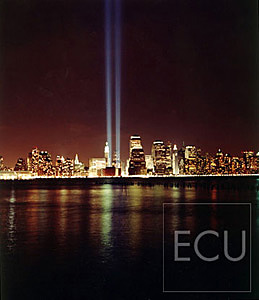 Color photograph taken at night of the Tribute in Light memorializing the destroyed World Trade Center in Manhattan, New York