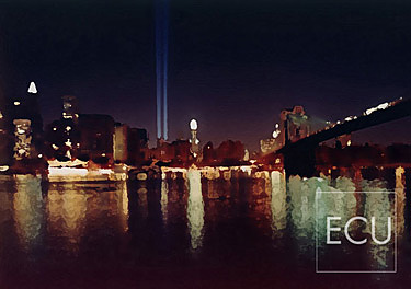 Color photograph and impressionistic view taken at night of the Tribute in Light memorializing the destroyed World Trade Center in Manhattan, New York